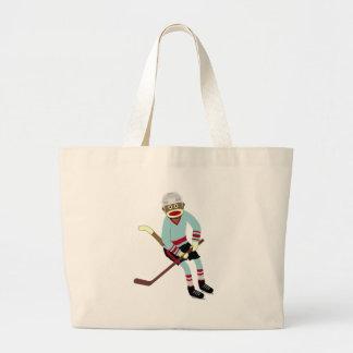 Sock Monkey Hockey Player Jumbo Tote Bag