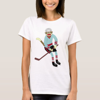 Sock Monkey Hockey Player T-Shirt
