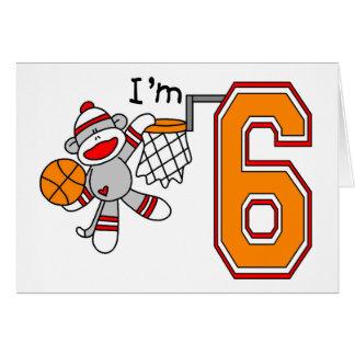Sock Monkey Hoops 6th Birthday Greeting Card