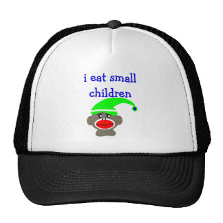 """Sock Monkey """"I EAT SMALL CHILDREN"""" Trucker Hat"""