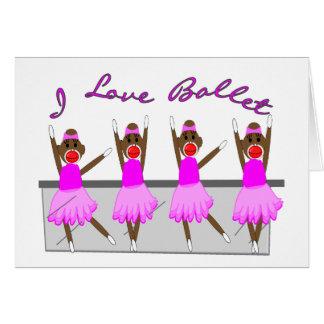 "sock monkey   ""I LOVE BALLET"" Card"
