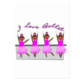"sock monkey   ""I LOVE BALLET"" Postcard"
