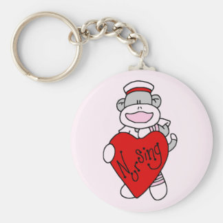 Sock Monkey I Love Nursing T-shirts and Gifts Keychain