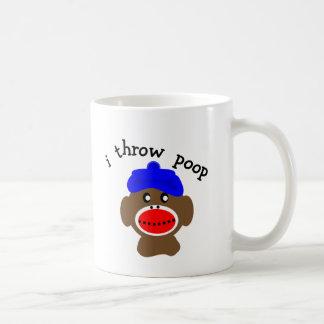 """Sock Monkey """"I THROW POOP"""" Classic White Coffee Mug"""