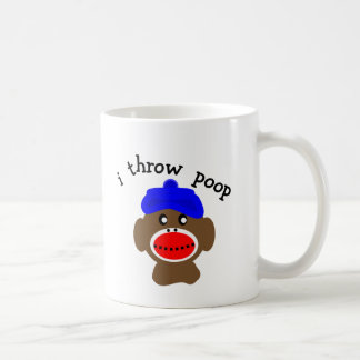 "Sock Monkey ""I THROW POOP"" Coffee Mug"