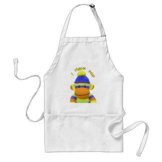 "Sock Monkey ""I Throw Poop"" Design--Adorable Standard Apron"