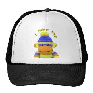 """Sock Monkey """"I Throw Poop"""" Design--Adorable Trucker Hat"""