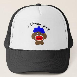 "Sock Monkey ""I THROW POOP"" Trucker Hat"