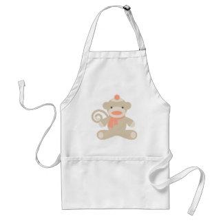 Sock Monkey in Orange Standard Apron
