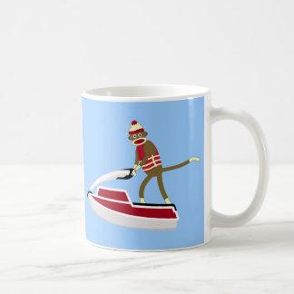 Sock Monkey Jetski Basic White Mug