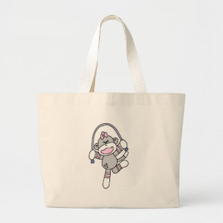 Sock Monkey Jumping Rope Large Tote Bag
