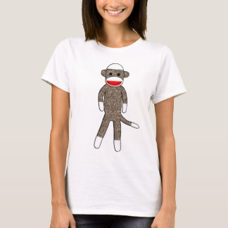 Sock Monkey Ladies Baby Doll Fitted T-Shirt