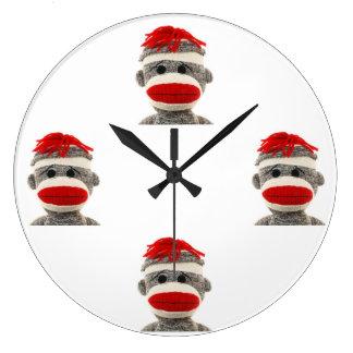 Sock Monkey Large Clock
