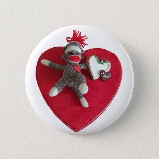 Sock Monkey Love #3 2 Inch Round Button