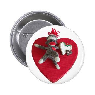 Sock Monkey Love #3 2 Inch Round Button