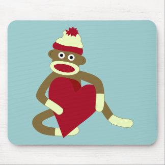 Sock Monkey Love Heart Mouse Pad