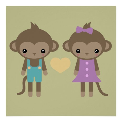 Sock Monkey Love Print
