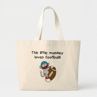 Sock Monkey Loves Football Tshirts and Gifts Large Tote Bag