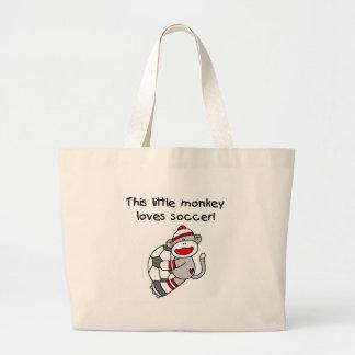 Sock Monkey Loves Soccer Large Tote Bag