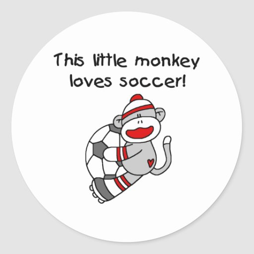 Sock Monkey Loves Soccer Round Stickers