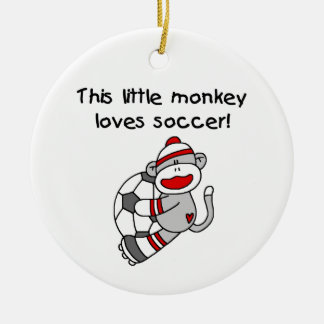 Sock Monkey Loves Soccer T shirts and Gifts Ceramic Ornament