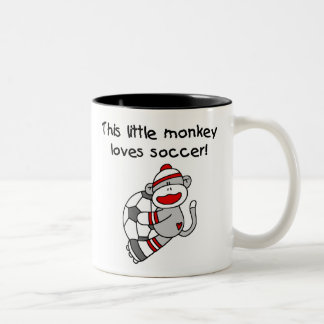 Sock Monkey Loves Soccer Two-Tone Coffee Mug