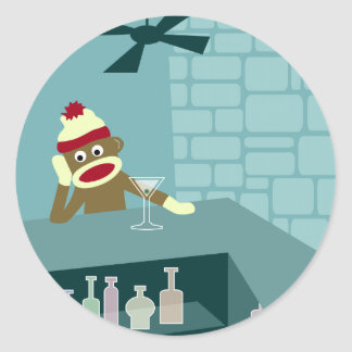 Sock Monkey Martini Bar Classic Round Sticker