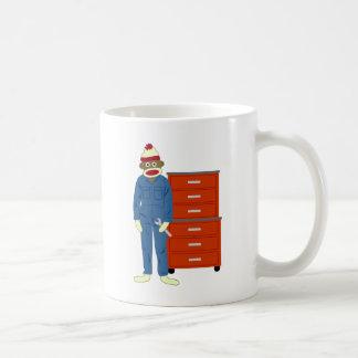 Sock Monkey Mechanic Basic White Mug