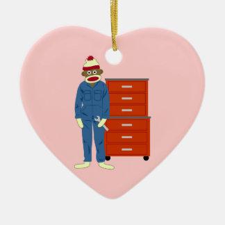 Sock Monkey Mechanic Ceramic Heart Ornament