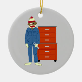 Sock Monkey Mechanic Ornament