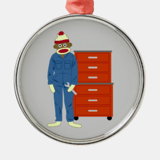 Sock Monkey Mechanic Silver-Colored Round Ornament