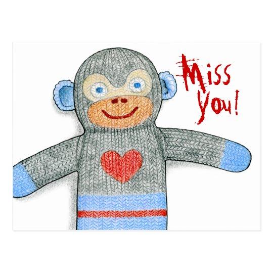 "Sock Monkey ""Miss You"" Postcard"