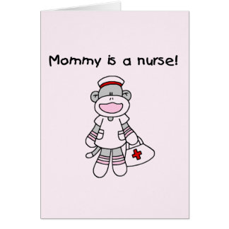 Sock Monkey Mommy Nurse T-shirts and Gifts Note Card