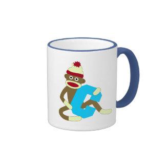 Sock Monkey Monogram Boy C Ringer Mug