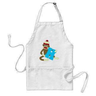 Sock Monkey Monogram Boy H Standard Apron