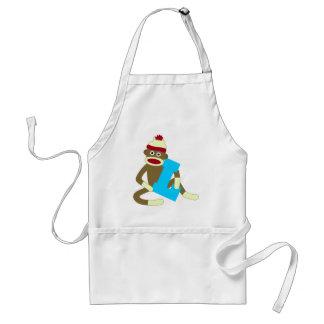 Sock Monkey Monogram Boy L Aprons