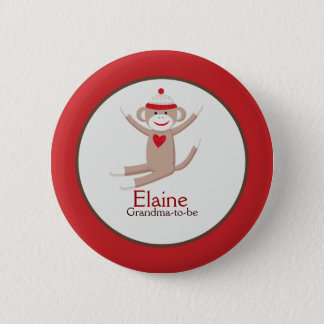 Sock Monkey NAME TAG Custom Button