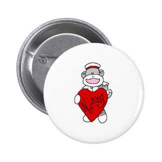 Sock Monkey Nursing 2 Inch Round Button