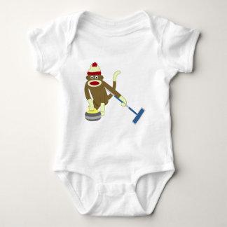 Sock Monkey Olympic Curling Baby Bodysuit