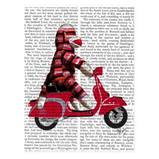 Sock Monkey on Moped Postcard