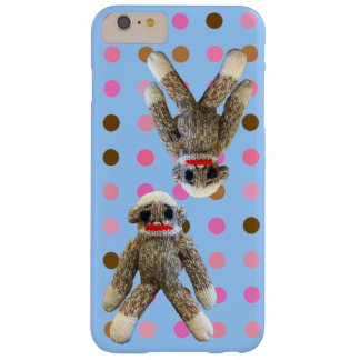Sock Monkey on Polka Dots blue Barely There iPhone 6 Plus Case