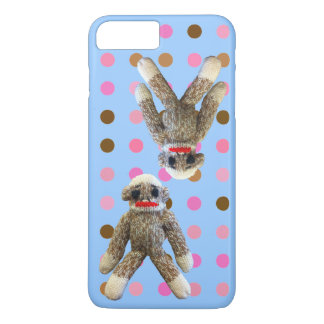 Sock Monkey on Polka Dots blue iPhone 7 Plus Case