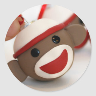 Sock Monkey Ornament Sticker