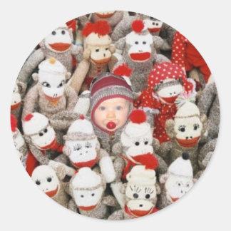 Sock Monkey Party Classic Round Sticker