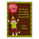 Sock Monkey Party Thank You Note Card