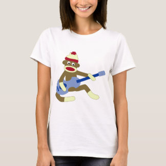 Sock Monkey Playing Blue Guitar T-Shirt