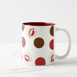 Sock Monkey Polka Dots Mug(Red&Brown) Two-Tone Coffee Mug