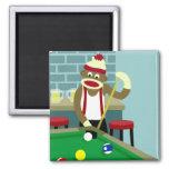 Sock Monkey Pool Billiards Player Square Magnet