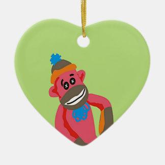 Sock Monkey Pop Art Add Name Text Ceramic Ornament