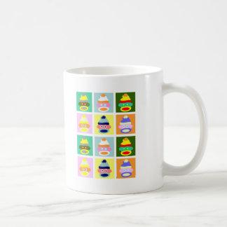 Sock Monkey Pop Art Basic White Mug